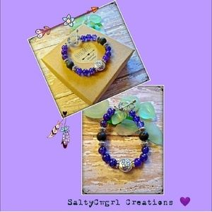 Purple Agate Lava Stone & Lotus Flower Bracelet
